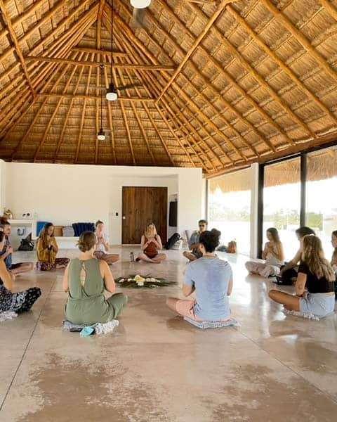 palapa roof yoga shala studio open ceremony for yoga teacher training in Tulum